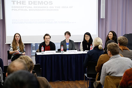 "Panel ""The Subject of Democracy"" (left to right): Svenja Ahlhaus (Hamburg), Jonathan Klein (Frankfurt, organizer of the conference), Katia Backhaus (Frankfurt, Chair), Yunjeong Choi (New York), Marina Martinez Mateo (Discussant, Frankfurt, organizer of the conference)"
